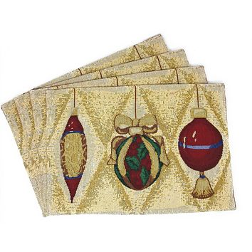 "DaDa Bedding Elegant Christmas Ornament Placemats, Set of 4 Tapestry 13"" x 19"" (6139)"