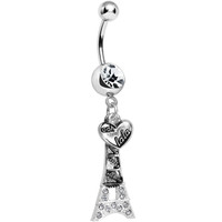 Clear Gem Eiffel Tower of Love Dangle Belly Ring | Body Candy Body Jewelry