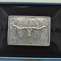 Nocona Rectangular Rope Edge Longhorn Antique Silver Tone Belt Buckle