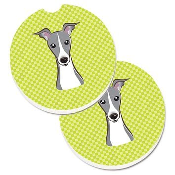 Checkerboard Lime Green Italian Greyhound Set of 2 Cup Holder Car Coasters BB1298CARC