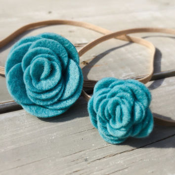 Mommy and Me felt flower headband set, Big Sister/ Little Sister Felt Headbands, baby headband set, Teal felt flower headband
