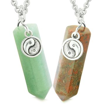 Lucky Yin Yang Amulet Love Couples Best Friends Crystal Points Green Quartz Dragon Blood Jasper Necklaces