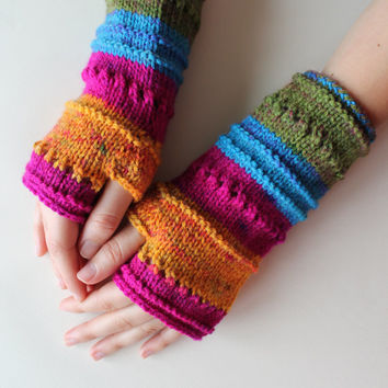 Fingerless gloves . Colorful . Valentines  gift . Winter collection . Valentines day . Mothers day gift . Colorful Glove . Handmade Glove