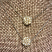 Freshwater Pearl Cotton Ball Sterling Silver Chain Floating Pearl Necklace