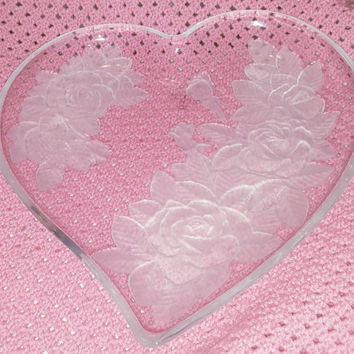 Romantic Heart Shaped Glass Serving Tray Platter with Embossed Floral Rose Design Victorian Shabby Chic; Valentine's Gift, Wedding Gift