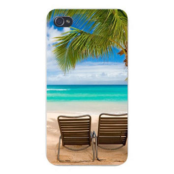 Apple Iphone Custom Case 4 4s Plastic Snap on - Two Beach Chairs on Tropical Island w/ Ocean