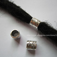 Free shipping 20Pcs/Lot Tibetan silver hair dread dreadlock Beads approx 6mm Hole NO.a2