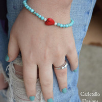 Red Stone Heart and Turquoise Stretch Bracelet