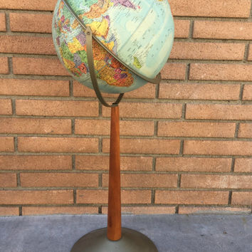 "Vintage Globe, Replogle Stereo Relief Globe, Mid Century Modern Globe, 12"" World Globe, World Globe Vintage, Vintage Office Decor"