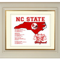 North Carolina NC State Wolfpack Football Art Print Fight Song Map Gift Home Decor 8x10