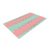 "Monika Strigel ""Avalon Soft Coral and Mint Chevron"" Orange Green Woven Area Rug"