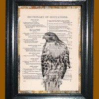 Standing Hawk -- Vintage Dictionary Book Page Art - Upcycled Page Art - Collage Wall Art - Mixed Media Art