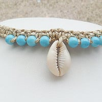 Aqua Beach Shell Hemp Anklet girls womens handmade jewelry hippie