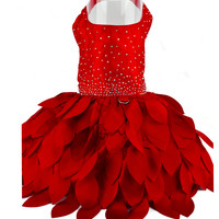 Crystal Dog Petal Harness Dress - Red or Pink