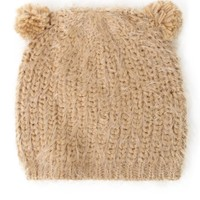 With Love From CA Eyelash Pom Ear Beanie - Womens Hat - Beige - One