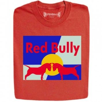 guys new red bully energy drink funny logo printed funny design t