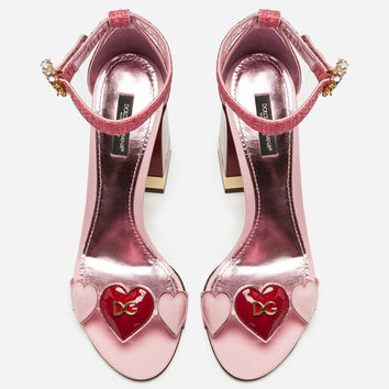 Women's Sandals New Collection | Dolce&Gabbana - SANDAL IN MIX OF MATERIAL WITH JEWEL HEEL