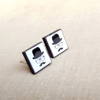 Stud earrings, Mustache earrings, Mustache stud earrings, Mustache jewelry, Square earrings, Square jewelry, Black and white, Black jewelry