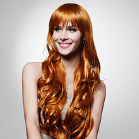 Capless Extra Long Top Grade Quality Synthetic Golden Brown Curly Hair Wig