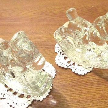 crystal Rocking hobby horse glass candle holders pair