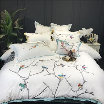 Cool Autumn Winter egyptian cotton Bedding Set birds embroidery Flat Bed Sheet Duvet Cover Bed Sheet Pillowcase King Queen 4/7pcsAT_93_12