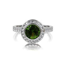 Peridot halo engagement ring, diamond ring, bezel engagement ring, white gold, yellow gold, green wedding, unique, vintage, peridot wedding