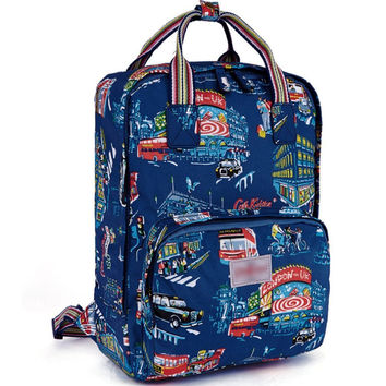Women's City Scene Printed Canvas Laptop Backpack School Bookbag Travel Daypack