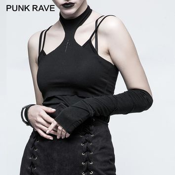 PUNK RAVE 2017 New Autumn Winter Gothic Black Hemming Stitching Long Gloves Female Party Mittens Sun-protective Sleeve 1 Piece