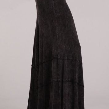 Black Mineral Wash Maxi Skirt