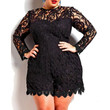 Stylish Round Neck Long Sleeve Solid Color Plus Size Lace Women's Romper