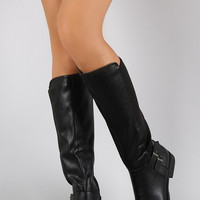 Bamboo Button Stretch Back Round Toe Riding Knee High Boots