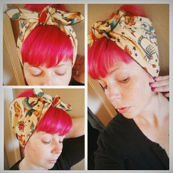 Tattoo Double WIDE Headwrap Bandana Hair Bow Tie 1950s Vintage Style - Rockabilly - Pin Up - For Women, Teens