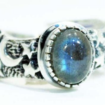 Sterling Silver Labradorite Moon and Star ring
