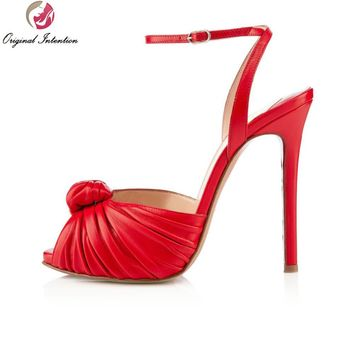 Original Intention High-quality Women Sandals Open Toe Thin High Heels Sandals Red Fashion Shoes Woman Plus US Size 4-15