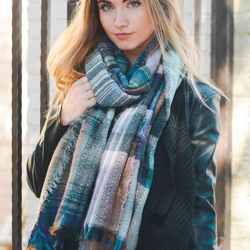 Fiona Pink Mix Plaid Knit Scarf