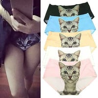 Women Sexy Pussycat Panties Briefs Anti Emptied Cat Meow Star Cat Underwear