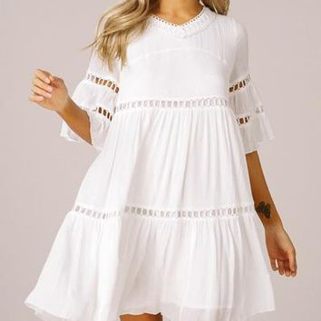 Bell Sleeve Boho Dress - White