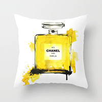 Yellow Perfume illustration - fashion illustration  Throw Pillow by Koma Art