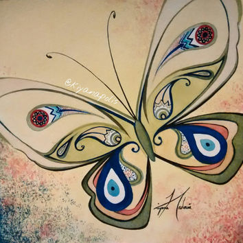 Evil Eye protector watercolor painting, Butterfly, Original, Persian art, Turkish, middle Eastern, Persian, Iranian