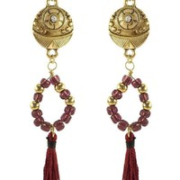 Boho Coin-Beaded Drop Earring, Gold
