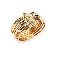 Jacquie Aiche - Diamond & 14K Yellow Gold Hammered Bar Ring - Saks Fifth Avenue Mobile