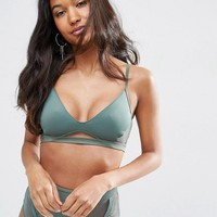 ASOS | ASOS Neoprene Fishnet Insert Cut Out Triangle Bikini Top at ASOS