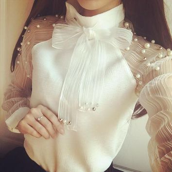 New 2017 blusas femininas Organza Bot tie Tops Pearl White shirt Casual Women Chiffon blouse Sexy Long sleeve shirt