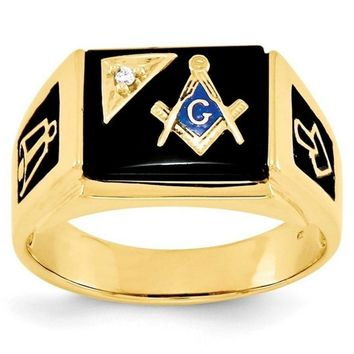 Black Surface Masonic Ring with Crystal [Gold & Silver]