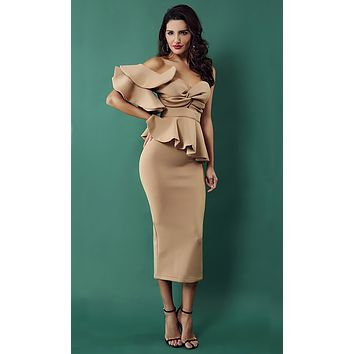 Be Faithful One Shoulder Ruffle Peplum Twist Bodycon Midi Dress - 3 Colors Available