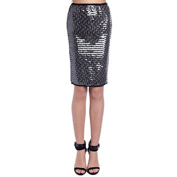 Silver pencil skirt in sequin