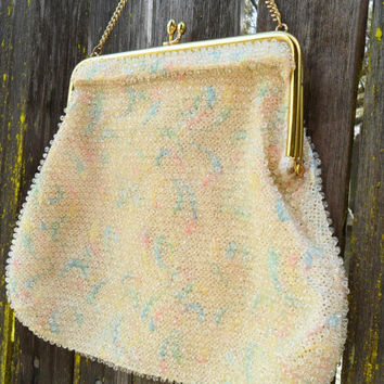 Vintage 50's Pastel Corde Bead Purse -Beaded Embroidered Evening Handbag