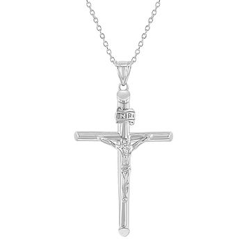 925 Sterling Silver Traditional Crucifix Cross Jesus Christ Pendant Necklace 19'
