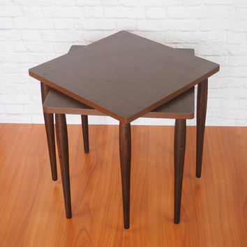 Mid Century Modern End Tables Pair // Eames Era Stacking Tables // Walnut  Colored