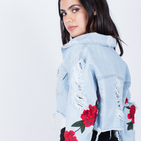 Patched Sleeves Crop Denim Jacket